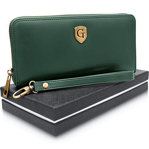 GenTo® Mailand Damen Geldbörse - Großes Frauen Portemonnaie mit RFID Schutz - XL Geldbörse mit vielen Fächern - Geschenk für Damen - erhältlich in 5 Farben (Smaragdgrün - Glatt)