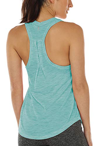 icyzone Camiseta sin Mangas de Yoga para Mujer Chaleco Deportivo (S, Verde Hielo)