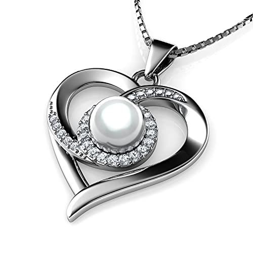 DEPHINI - Collar de corazón de pasión para mujer - Colgante de plata de ley 925 real Pearl