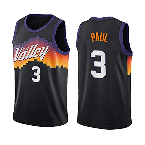 Basketball Trikot, Phoenix Suns # 3 Chris Paul Basketball Uniform Atmungsaktives Training Basketball Weste Swingman Ärmelloses Sweatshirt Top Black-L