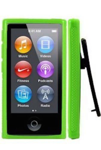 ANiceSeller(TM) Color TPU Rubber Skin Case Cover with Belt Clip for iPod Nano 7th Gen 7 7G (Green)