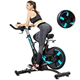 Bicicletas de Spinning Fitness Equipment Smart Connection Teléfono silenciosa estática Acero Inoxidable Volante Soporte de Cargas de 150 kg (Color : Blue, Size : 144 * 63 * 133cm)