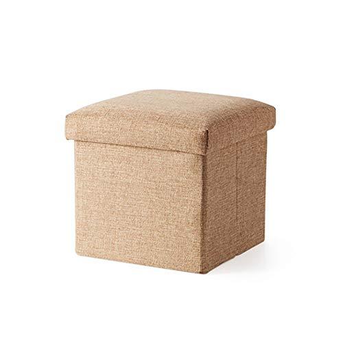 LFF Coffre de Rangement Pliant, Repose-Pieds Repose-Pieds Ottoman Siège de Pique-Nique Portable Polyvalent Cubes Gain d'espaceMax 120 kg Linenette 38 x 38 x 38 cm (Couleur : Beige)