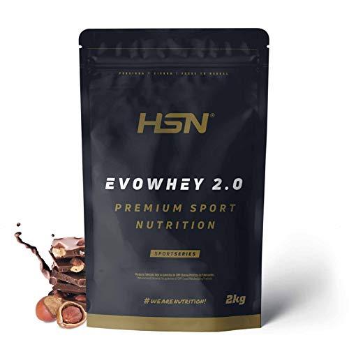 Concentrado de Proteína de Suero Evowhey Protein 2.0 de HSN | Whey Protein Concentrate| Batido de Proteínas en Polvo | Vegetariano, Sin Gluten, Sin Soja, Sabor Chocolate Avellana, 2Kg
