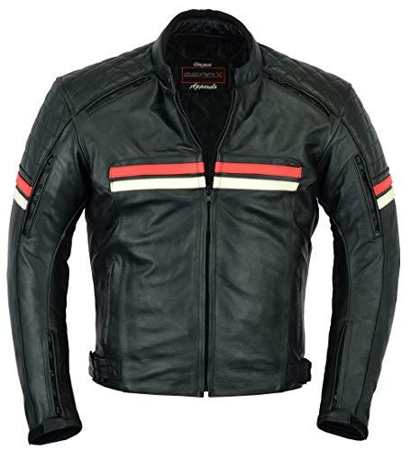 Chaqueta moto cuero Retro Boney Touring Desplazamientos urbanos Protección con rejillas ventilación, L