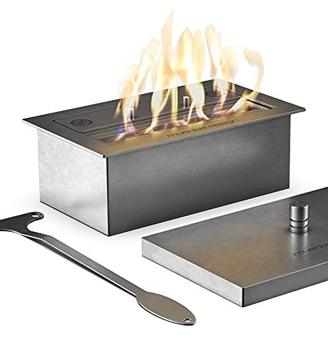 muenkel design Safety Burner 290 – Bruciatore manuale – Bioetanolo camera di combustione con fiamma da 22 cm – Acciaio inox spazzolato
