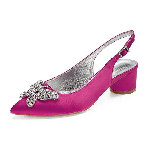 Zapatos Zapatos De La Boda De Marfil De Novia Peep Toe Zapatos De Novia Diamantes De Imitación Gatito Talón De Las Mujeres,Rose red,40