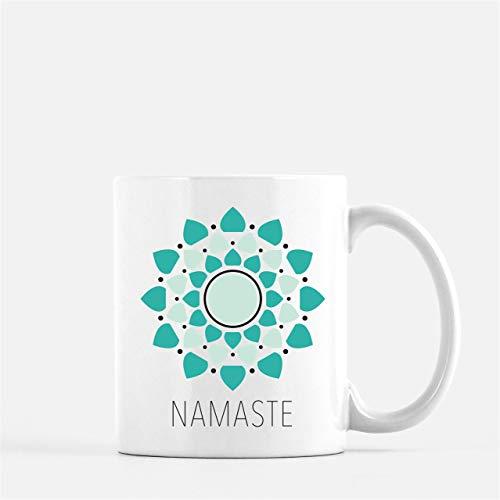 N\A Mandala Namaste Teal Yoga Taza de café Yoga Mandala Taza de café Yoga Mandala Taza Regalo para Yogi Namaste Taza de café