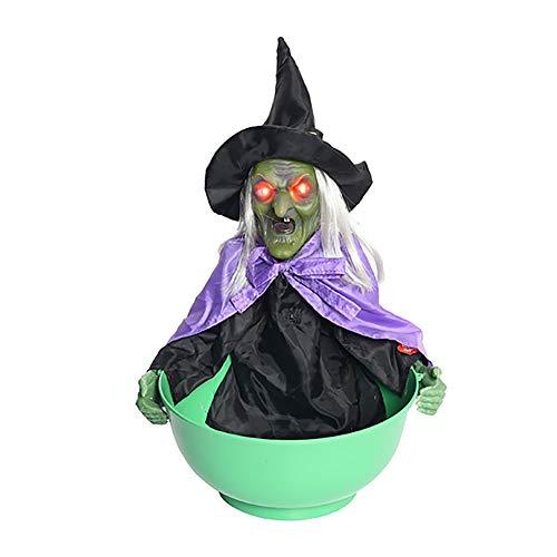 Vinmin Brujas para Halloween, Halloween Animated Witch Props Bruja Sentarse Bruja con Ojos iluminados Haunted House Yard KTV Scary Outdoor Decoration,Verde