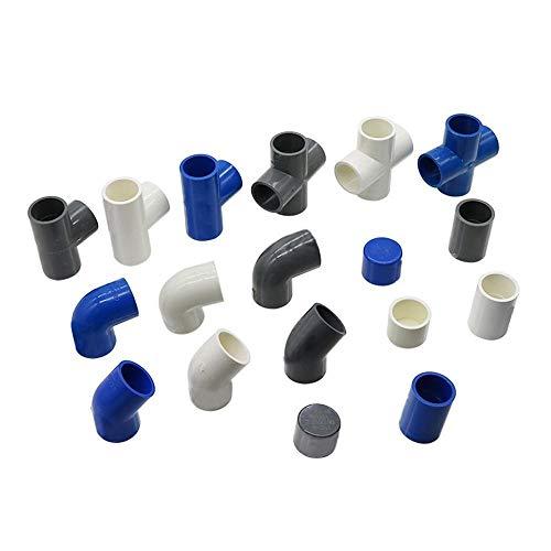 HLH 25mm Conectores de Tubos de PVC Codo Recto sólidos de Igual tee Cuatro direcciones Conectores Finales Tapones de plástico Conjunto de riego Adaptador 1 Pc
