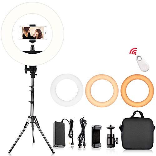 """SAMTIAN Anillo de luz,14"""" Ajustable 3200-5900K Bi-Color Youtube Makeup Light Regulable 384 LED Kit de arodeluz con Soporte de luz de 79"""" Soporte para teléfono Remoto para cámara Fotografía de Video"""