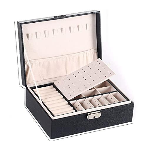 Caja de joyería caja de almacenamiento de joyería espacio de joyería de gran espacio caja de regalo Pendientes de regalo Mostrar joyería Almacenamiento Polvo A prueba de polvo Caja de almacenamiento 0