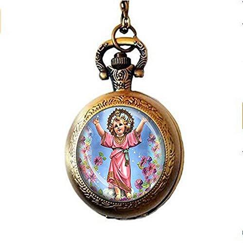 Jesucristo Divino Nino católico Medalla Divino Niño Jesús Religioso Cristiano Reloj de bolsillo Collar Arte Imagen Joyería