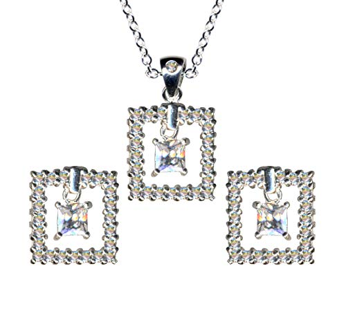 Juego de joyas de plata de ley 925 con forma de cuadrados, pendientes + cadena + colgante de cadena de plata, colgante de plata, colgante de estilo art deco, pendientes con circonitas, color blanco