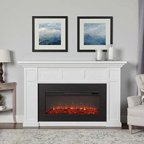 Real Flame White Alcott Landscape Electric Fireplace Décor Dining electric Features Fireplaces Home Kitchen