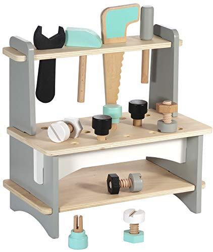 Kindsgut Werkbank aus Holz, Spiel-Spaß zum Bauen Schrauben und Hämmern, hochwertige Qualität, Schlichtes Design und dezente Farben, Motorik-Spielzeug,, Kinder
