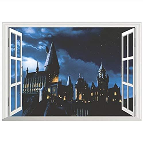 Harry Potter Movie Poster Magic Castle 3D nep venster PVC muurschilderingen Home decoratie Verwijderbaar behang