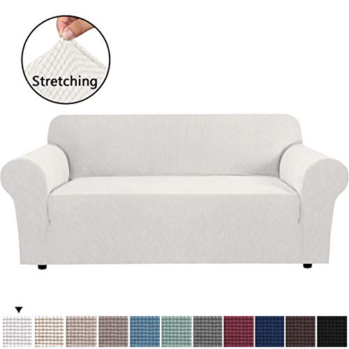 Stretch Sofa Covers Couch Cover Furniture Protector Sofa Slipcover 1-Piece Feature High Spandex Textured Lycra Small Checks Jacquard Fabric with Elastic Bottom(Sofa 72'-96' Wide: Ivory White)