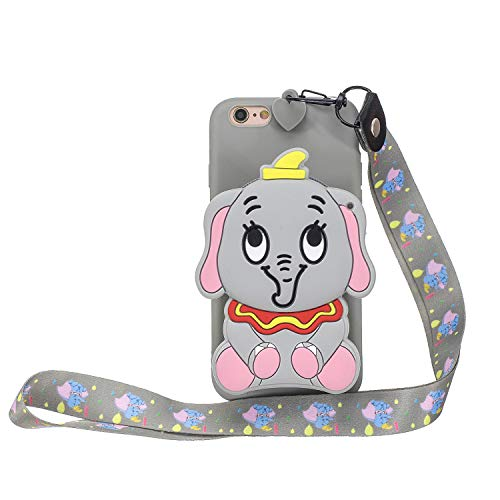 Yobby Cover per iPhone 6/6S,Grigio Opaca Silicone 3D Elefante Animali Disegni Custodia Morbida Gomma Tasca con Cinturino,Kawaii Cool Moda Gel Case per iPhone 6/6S