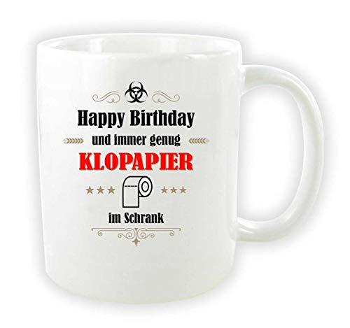 die stadtmeister Keramiktasse weiß \'\'Happy Birthday und Immer genug Klopapier im Schrank