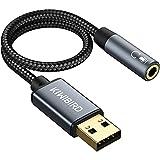 KiWiBiRD Adattatore USB a Jack 3,5mm, Adattatore per Cuffie e Microfono, 4 poli TRRS, Scheda Audio Stereo Esterna USB con DAC compatibile con MacBook, Surface, PS4, Windows PC, Chromebook