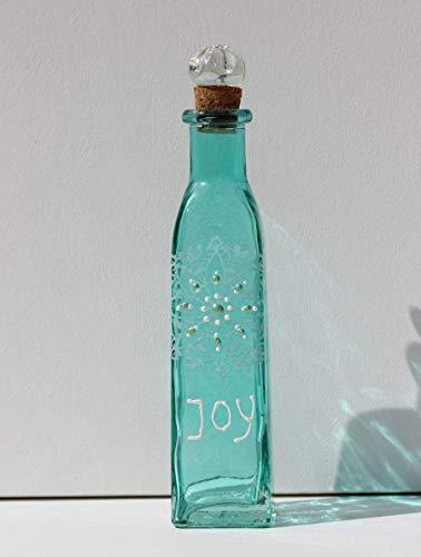 Flasche Türkis Weiß mit Schriftzug JOY für Freude und Glück, Wellness Glas Deko in Blau, Geschenk zur Verlobung, Dekoration für Hochzeit, INaCHI Glücksbringer Design-Serie