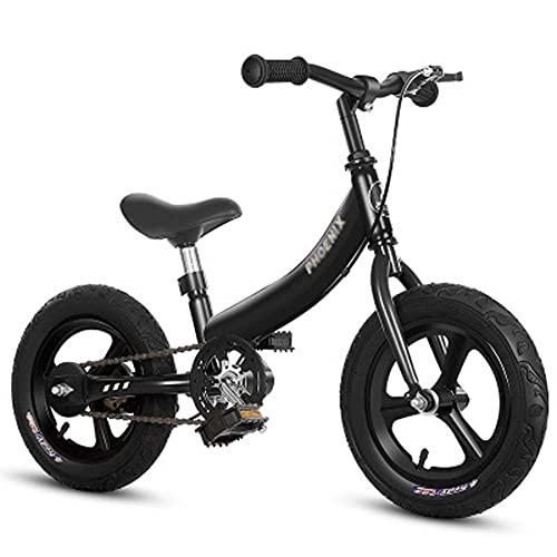 Bicicleta infantil 2 en 1 para niños, adecuada para niños y niñas de 2 a 7 años, bicicletas sin pedales, color negro