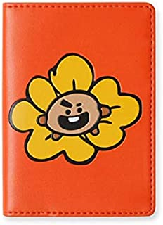 BT21 Flower Collection SHOOKY Character Passport Holder Cover Wallet for Travel, Brown/Orange