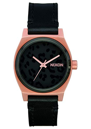 NIXON Medium Time Teller Leather A1172 - Rose Gold/Black/Cheetah - 100m Water Resistant Women's Analog Classic Watch (31mm Watch Face, 16mm Leather Band)