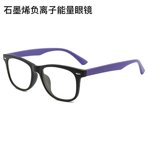 WLLAQ Gaming Anti Fatiga Gafas Gafas Energéticas, Grafeno, Ión Energético, Dispositivo Cuántico, Anti-Móvil, Azul, Juego Competitivo De Iluminación, Frosted Purple
