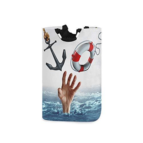 ZOMOY Multifunktionale Faltbarer Schmutzige Kleidung Wäschekorb,Leben Tod Konzept Waschbecken schwimmen Symbol,Household Wäschebox Spielzeug Organizer Aufbewahrungsbeutel mit Henkel