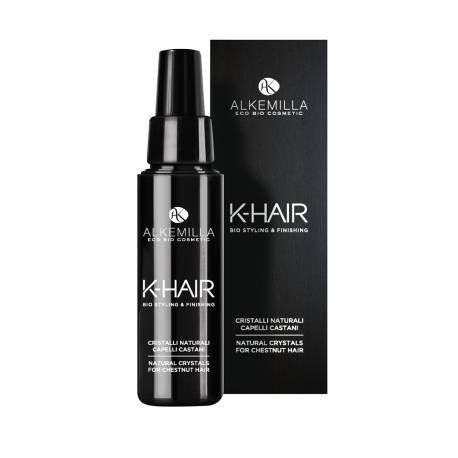 ALKEMILLA - K-Hair - Cristaux Naturels pour les Cheveux Bruns - Effet hyper brillant à base d'huiles organiques - Vegan & Nickel Testé - 50 ml
