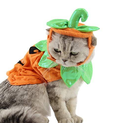 POPETPOP Disfraz de Gato de Halloween Trajes Trajes de Sombreros Vestido Diademas Festivales Trajes de Calabaza para Perros Gatos