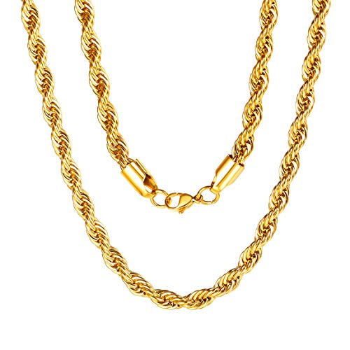 Mens Gold Chain Necklace 6mm 20 inch Twist Rope necklace