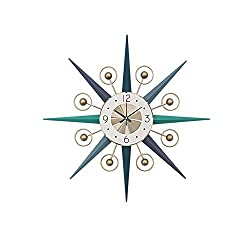 SHISEDECO Mid-Century Metal Wall Clock, Large Starburst Decoration for Home, Kitchen,Living Room,Office (Multi Color, 28)