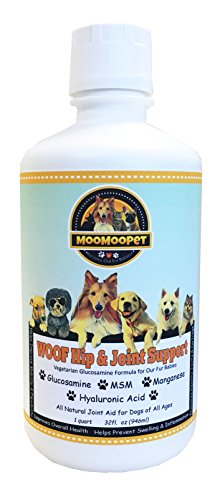 WOOF HIP & JOINT SUPPORT - Best Hip and Joint Supplement for Dogs - Liquid Glucosamine, Chondroitin, MSM and Hyaluronic Acid - Natural Arthritis Pain Relief - Vegetarian Formula - Made in USA - 32oz
