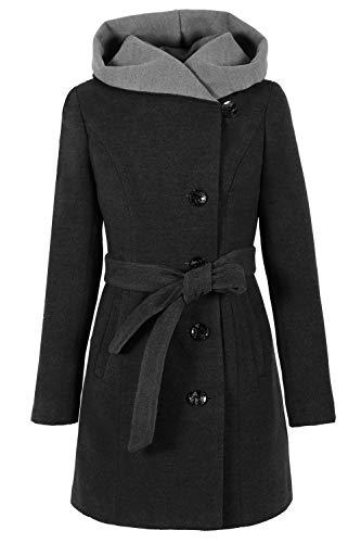 Grimada 1281-2 Damen Wollmantel Wolljacke COOTIC mit Kapuze (38, grau)