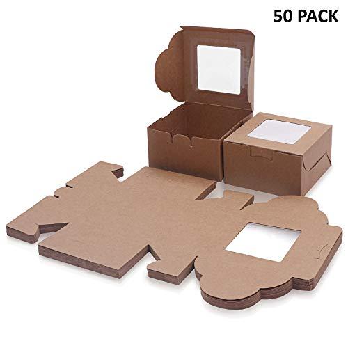 Braune Kraftpapier Geschenkboxen für Gebäck (50 Stk) - Karton Box Verpackung mit Sichtfenster (10,16x10,16x5,7cm) – Cupcake Schachtel Pappschachtel für Kekse, Donut, Kuchen, Muffin, Dessert, Geschenk