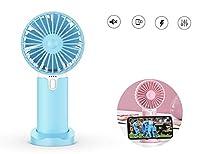 携帯扇風機 手持ち 扇風機 ハンディファン 卓上 ファン ミニ扇風機 静音設計 USB 充電式 3段階風量調節 台座付き 携帯電話ホルダーとして使用可能 (ブルー)