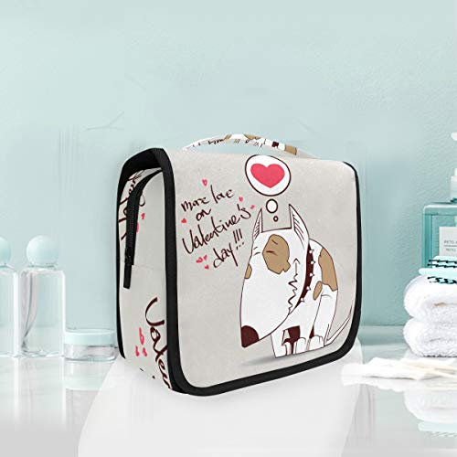 Amour Coeur Chien Triste Trousse De Toilette Sac Pliable Suspendu Cosmétique Sac Rangement Maquillage sacs pour Voyage Femmes Filles