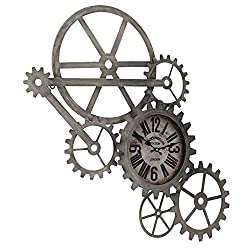 Gears, Cogs, and Wheels Wall Clock, Hand Welded Metal, Quart Movement, 24.75 Inches, Brushed Antique Silver and Grey Iron, Roman Numerals, Battery Powered, 1 AA - 1.5 V, (Not Included)