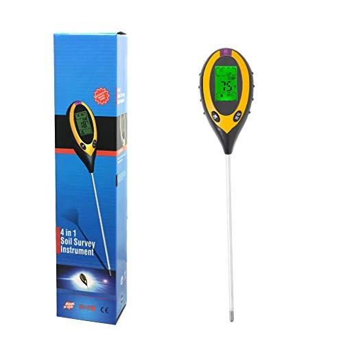 Aulande Bodentester, Boden PH Messgerät, 4-in-1 digitales Bodentester mit PH/Sonnenlicht/Feuchtigkeit/Temperatur, Boden Messgerät für Garten, Bauernhof, Rasen, Innen und Außen