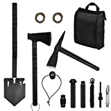 Yeacool Survival Kit Tactical, Off-Roading Tool, Camping Axe Mulitool, Folding Shovel, Military Pickaxe with Molle Carrying Bag, for Car Emergency Outdoor