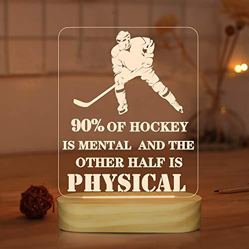 Hockey Dekor, 3D Lampe Eishockeyspieler Nachtlicht für Kinder Männer Coole Geschenke, Coole Raumdekor Tischlampen für Teen Boys