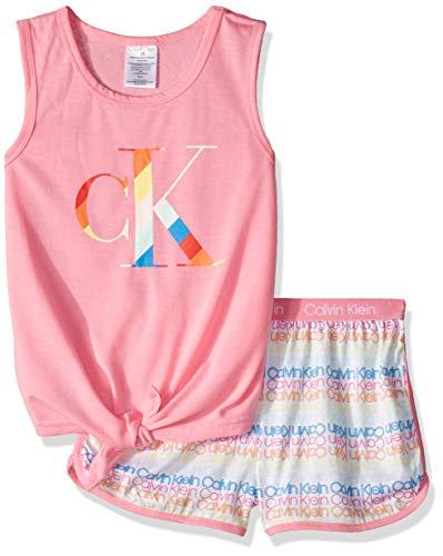 Calvin Klein Girls' Little 2 Piece Sleepwear T-Shirt and Shorts Pajama Set Pj, Sachet Pink, CK Logo Rainbow, Small-6/6X