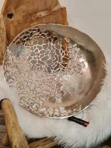 Colmore Schale/ offen Dekoschale Tischdeko Dekoteller Alu Silber Modern Größe 53x53x12 cm