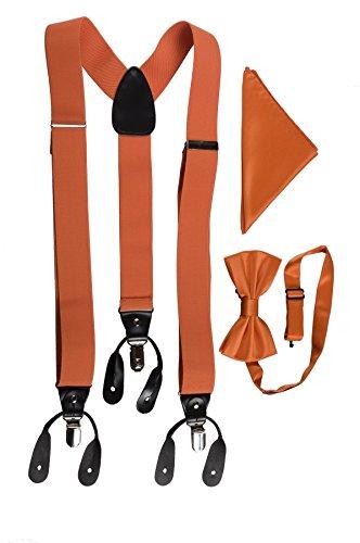 Brand Q Mens Matching Suspender Bow Tie Pocket Handkerchief Set, Mandarin Orange (Dark Orange)
