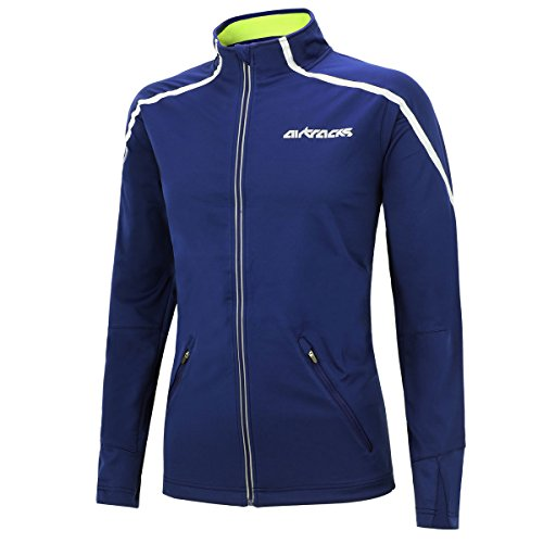 Airtracks Thermo Fahrradjacke AIR TECH/Laufjacke/Windstopper/Winddicht/WASSERABWEISEND/Reflektoren-BLAU-M