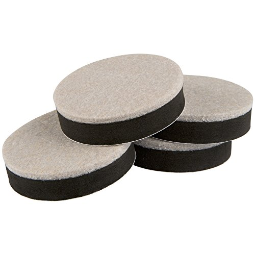 Super Sliders 2 1/2 Inch Round 4710495N Reusable Felt Furniture Sliders for Hardwood Floors, 2.5 Inch, Oatmeal