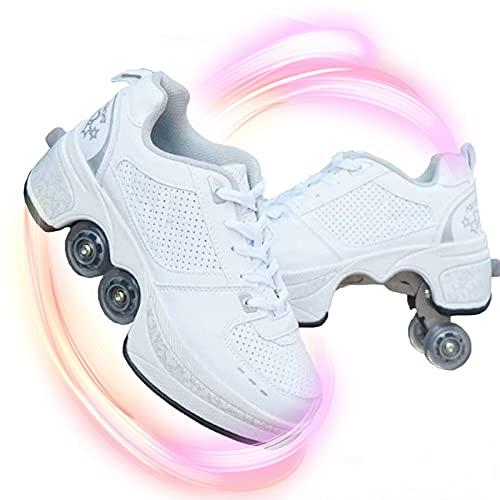 HealHeatersⓇ Doble Rodillo Zapatos De Skate Zapatos Invisible De Polea De Zapatos Zapatillas De Deporte Zapatos Multiusos, niños Zapatos con Ruedas